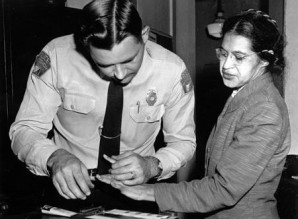 Rosa Parks being fingerprinted upon arrest by Montgomery Police.